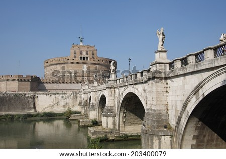 Saint Angel castle over the Tibre river, Rome, Italy