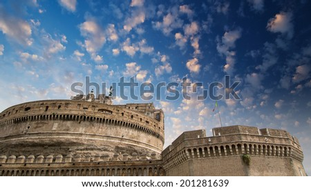Saint Angel Fortress in Rome at sunset, Italy. - stock photo