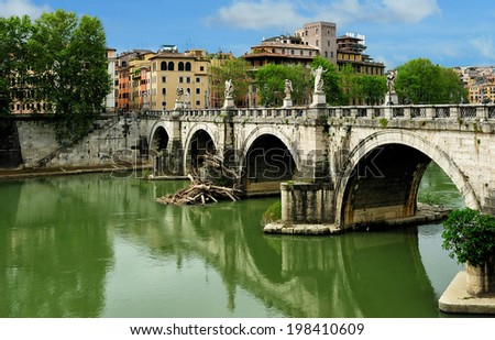 Saint Angelo Bridge (Ponte St Angelo), Rome, Italy
