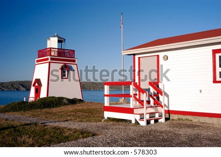Saint Anthony Lighthouse located in the northeastern portion of the Northern Peninsula in Newfoundland, Canada. - stock photo