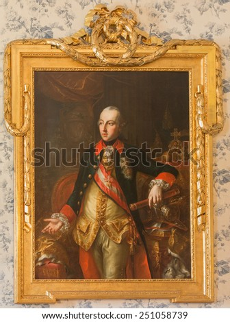 SAINT ANTON, SLOVAKIA - FEBRUARY 26, 2014: The portrait of Austrian emperor Joseph II in Saint Anton palace by unknown artist of 18. cent.  - stock photo