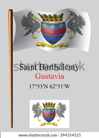 saint barthelemy wavy flag and coordinates against gray background, art illustration, image contains transparency