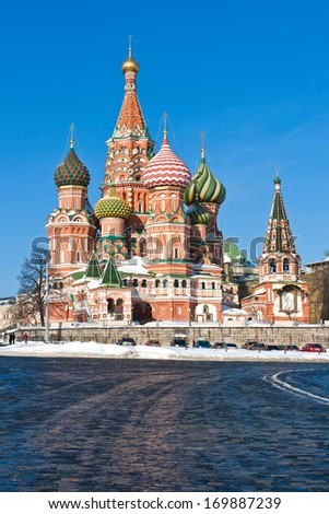 Saint Basil Cathedral at Red Square, Moscow Kremlin, Russia. - stock photo