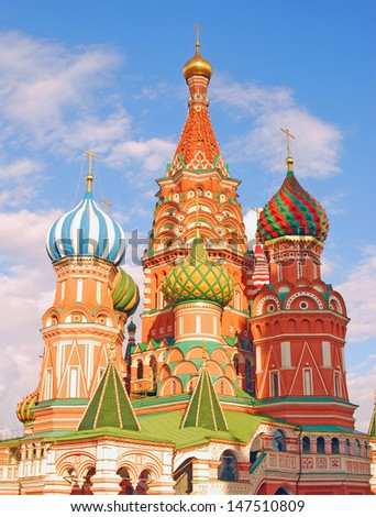 Saint Basil cathedral on the Red Square in Moscow, Russia. UNESCO World Heritage Site.