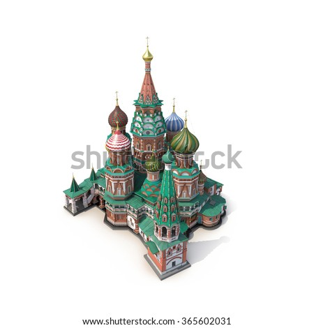 Saint Basil Cathedral on White Background