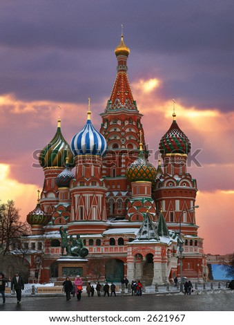 Saint Basil's Cathedral Church in evening time