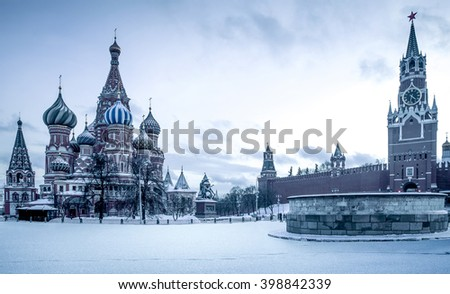 Saint Basil's Cathedral on Red Square in Moscow, Russia - stock photo
