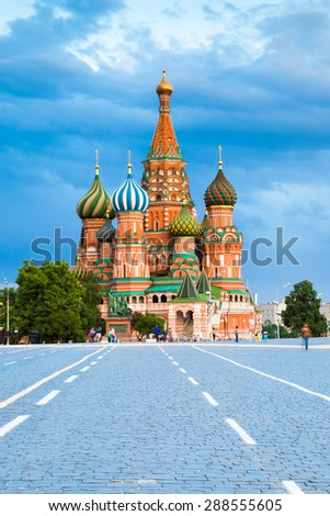 Saint Basil's Cathedral on the Red Square at sunset on June 17, 2015, Moscow, Russia. - stock photo