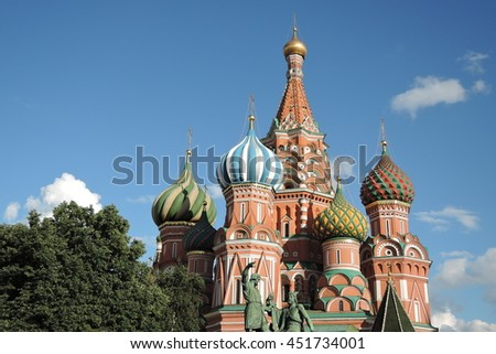 Saint Basils Cathedral on the Red Square in Moscow.
