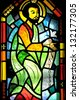 SAINT BENOIT DU LAC QUEBEC CANADA AUGUST 16: Religious stained glass window inside the chapel on august 16 2012 in Saint Benoit Du Lac QC canada - stock photo