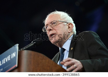 Saint Charles, MO, USA - March 14, 2016: US Senator and Democratic Presidential Candidate Bernie Sanders speaks during a campaign rally at the Family Arena in Saint Charles, Missouri. - stock photo