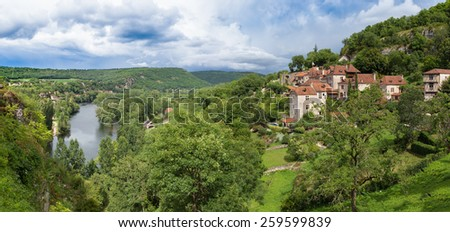 Saint Circ Lapopie and Lot River in France - stock photo