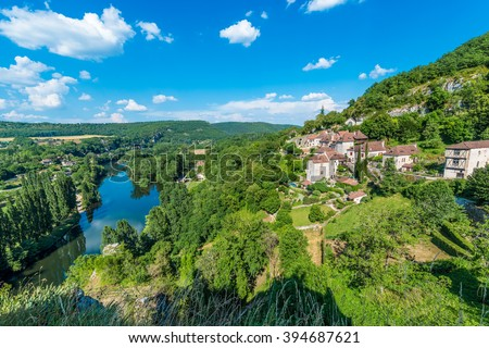 Saint-Cirq-Lapopie, member of the Les Plus Beaux Villages de France (The most beautiful villages of France) association in Lot, south-western France. - stock photo
