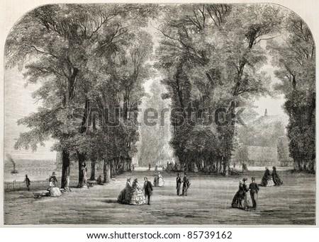 Saint-Cloud park old view, Paris surroundings. Created by Anastasi, published on L'Illustration, Journal Universel, Paris, 1860 - stock photo