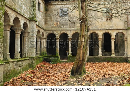 Saint Cristine Monastery, located in the heart of the Ribeira Sacra (Sacred shore) Galicia and along the river Sil. Spain - stock photo