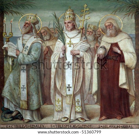 Saint Cyril, Telesphorus and Hilarius, Carmelite Saints, The Church Stella Maris, Haifa, Israel - stock photo
