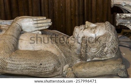 SAINT-DENIS, FRANCE â?? FEBRUARY 12, 2015 : Recumbent statue of  king charles of etampes, basilica of saint-denis,  necropolis of french monarchs, February, 12, 2015 in Saint-Denis, near Paris, France.