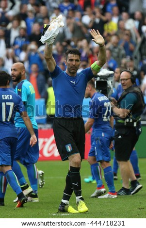 SAINT DENISE- FRANCE,  JUNE 2016 : Buffon  in action during football match  of Euro 2016  in France between ITALY VS SPAIN at the Stade DE FRANCE on June 22, 2016 in  SAINT DENISE