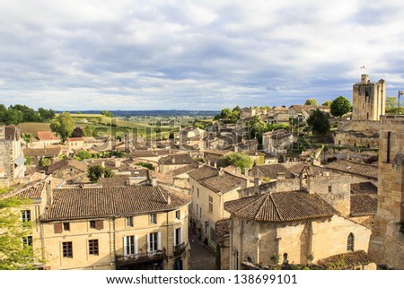 Saint-Emilion - one of the main red wine production areas of Bordeaux region. The town is a UNESCO World Heritage site. - stock photo