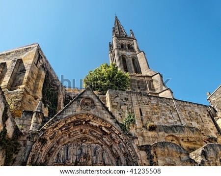 Saint Emilion village with its monolithic church - stock photo