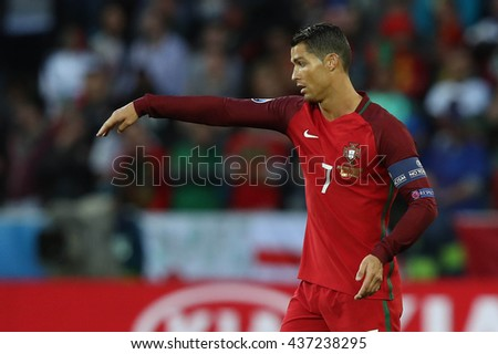 SAINT ETIENNE- FRANCE,JUNE 2016:Cristiano Ronaldo in action during football match  of Euro 2016  in France between Portugal vs Iceland at the stade geoffroy guichard on June 14, 2016 in Saint Etienne  - stock photo