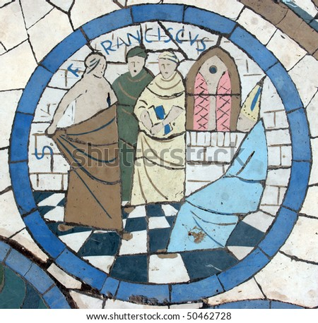 Saint Francis, Mosaic in front of the church on the Mount of Beatitudes - stock photo