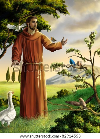 Saint Francis preaching to birds in a beautiful landscape. Digital illustration. - stock photo