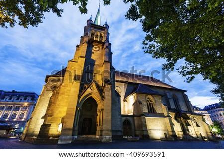 Saint-Francois Church in Lausanne. Lausanne, Vaud, Switzerland. - stock photo