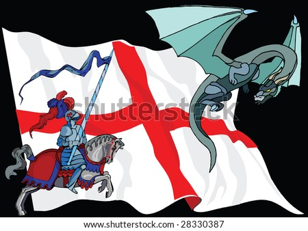 Saint George and Dragon against English Flag - stock photo