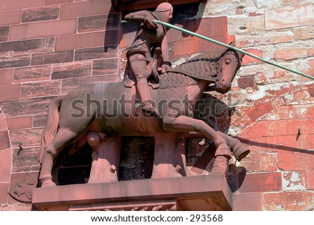 Saint George (1372), Basel, Switzerland - stock photo