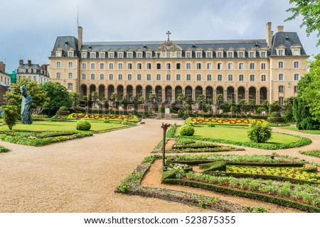 Saint George Palace (Palais Saint-Georges) in French garden is an historic building in the city of Rennes. Formerly an abbey residence, it was built in 1670, architect Pierre Corbineau. France.