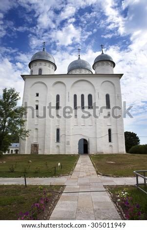 Saint George's Cathedral, Russian orthodox Yuriev Monastery in Great Novgorod (Veliky Novgorod.) Russia - stock photo