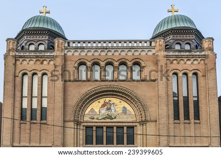 Saint George's Greek Orthodox Church (formerly Holy Blossom Temple, designed by Canadian architect John Siddal) in Toronto, Ontario, Canada.  - stock photo