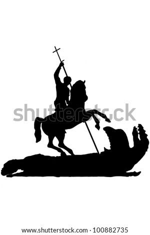 Saint George Slaying the Dragon - stock photo