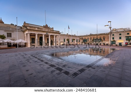 Saint George Square and Republic Street in Valletta, Malta - stock photo