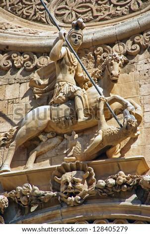 Saint George statue in a church of Majorca (Spain) (Pla���§a de Sant Francesc) - stock photo