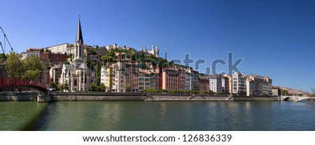 Saint georges church, next to the Saone river - stock photo