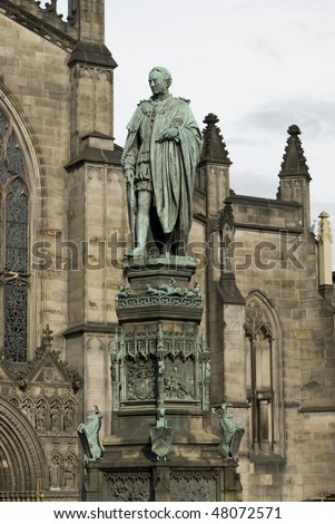 Saint Giles Cathedral or High Kirk of Edinburgh. Presbyterian Church. Statue of 5th. Duke of Buccleuch in foreground. Scotland. UK. - stock photo