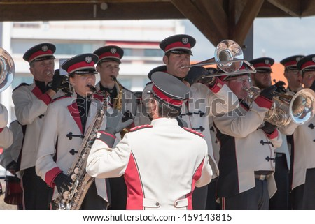 Saint Gilles Croix de Vie, France - July 14, 2016 : fanfare band playing in a kiosk for the French National Day