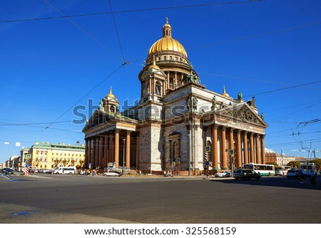 Saint Isaac's Cathedral or Isaakievskiy Sobor in Saint Petersburg, Russia.