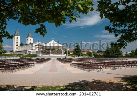 Saint James church of Medjugorje in Herzegovina, where Blessed Virgin Mary appeared to six children in June 1981 - stock photo