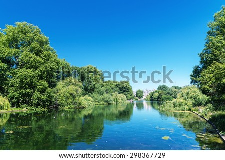 Saint James Park in London on a beautiful summer day. - stock photo