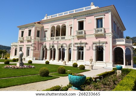 SAINT JEAN CAP FERRAT, FRANCE, APRIL 8: Villa Rothschild shown on april 8, 2015 in Saint Jean Cap Ferrat, France. This villa is one the beautiful palaces of the French Riviera, and the most visited. - stock photo