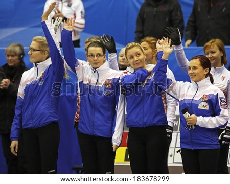 SAINT JOHN, CANADA - March 19: Czech Republic's Anna Kubeskova, Klara Svatonova, Tereza Pliskova, Alzbeta Baudysova at the Ford World Women's Curling Championship March 19, 2014 in Saint John, Canada. - stock photo