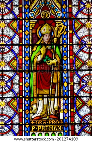 SAINT JOHN'S NEWFOUNDLAND JUNE 11: Stained glass window in the Cathedral of St. John the Baptist is located in the city of St. John's, Newfoundland and Labrador, Canada. On june 11 2014 - stock photo