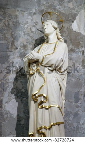 Saint John under the Cross, 12th Stations of the Cross, Jesus dies on the cross - stock photo