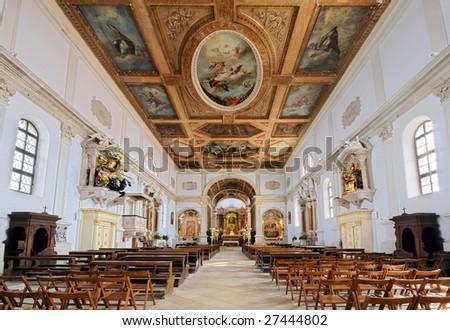 saint Jurij church interior in Piran - Slovenia - stock photo