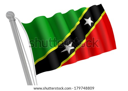 Saint Kitts and Nevis flag on pole waving in the wind