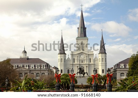 Saint Louis Cathedral, Jackson Square, New Orleans, Louisiana, United States - stock photo