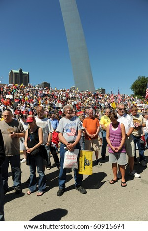 SAINT LOUIS, MISSOURI - SEPTEMBER 12: Opening Prayer at Rally of the Tea Party Patriots in Downtown Saint Louis under the Arch, on September 12, 2010 - stock photo